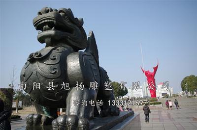0 产品详情 独角兽雕塑  獬豸雕塑 曲阳县旭扬雕刻厂定做法制廉政雕塑